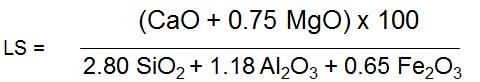 CaO + 0.75 MgO) x 100