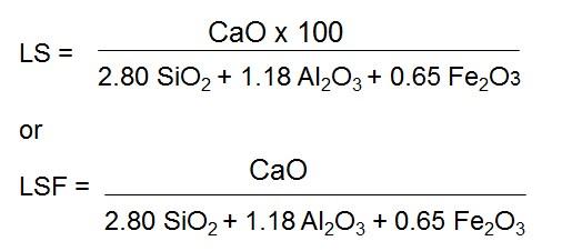 LS=2.80 SiO2 + 1.18 Al2O3 + 0.65 Fe2O3 or