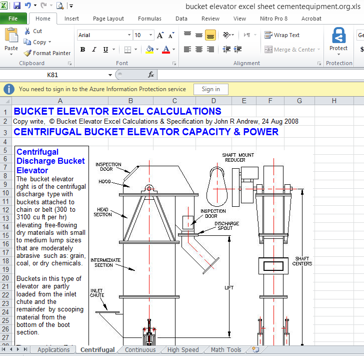BUCKET ELEVATOR EXCEL CALCULATION - INFINITY FOR CEMENT