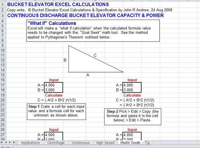 bucket elevator excel calculation